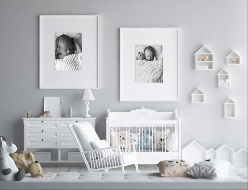 London Family Photographer, bedroom mockup image with two pictures on the wall
